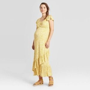 NWT Isabel Maternity Knit Maxi Dress Yellow Floral